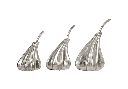 Hand Dipped Pears Set of 3 Silver Leaf