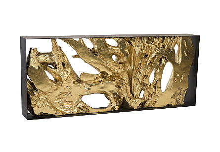 Cast Root Console Table Iron Frame, Resin, Gold Leaf