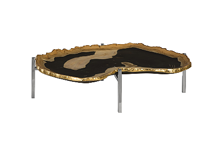 Cast Petrified Wood Tray Gold Leaf Edge, Resin, Stainless Steel Base