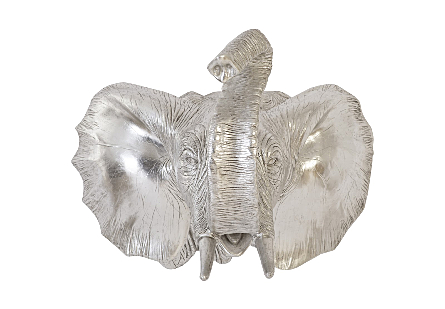 Elephant Wall Art Resin, Silver Leaf