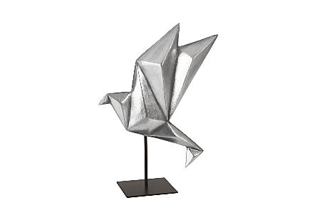 Origami Bird Table Top Sculpture Silver Leaf