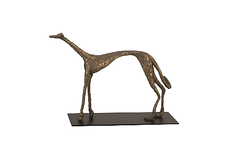 Greyhound on Black Metal Base Resin, Bronze Finish