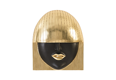 Fashion Faces Wall Art Smile, Gold Leaf, LG
