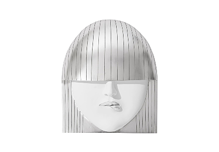 Fashion Faces Wall Art Pout, Silver Leaf, LG