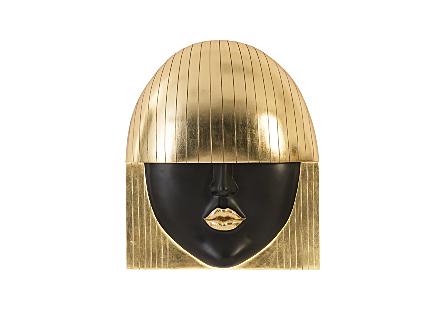 Fashion Faces Wall Art Kiss, Gold Leaf, LG