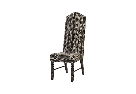 Manhattan Dining Chair Eco Viscose Black, Black Wooden Legs