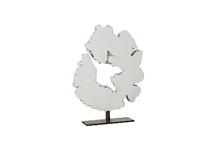 Lava Slice Sculpture on Stand Resin, Stainless Steel