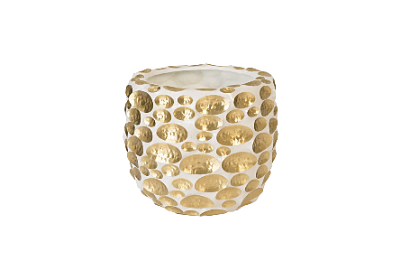 Bubbles Planter Brass, White, SM