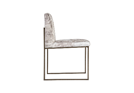 Frozen Dining Chair Beige Mist Fabric, Antique Brass Metal Frame