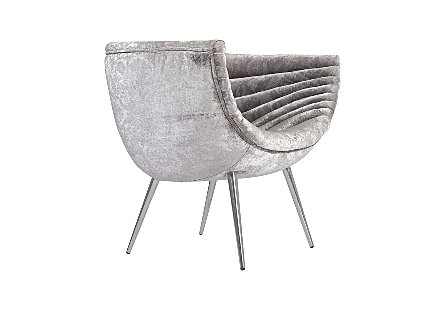 Nouveau Club Chair Grey Crushed Velvet Fabric, Stainless Steel Legs