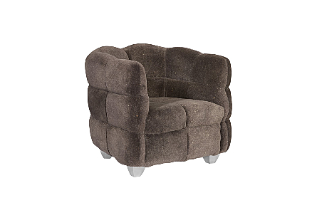 Cloud Club Chair Distressed Grey Fabric, Stainless Steel Legs