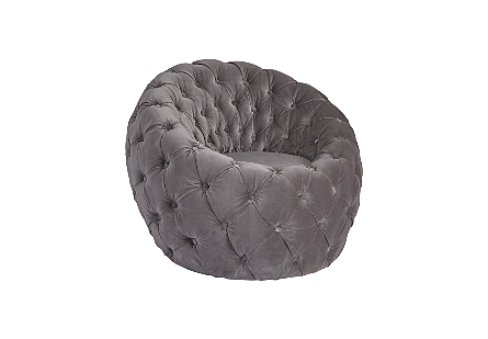 Egg Chair Grey Velvet Fabric