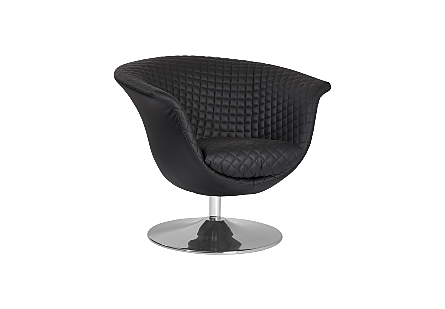 Autumn Chair Quilted Black, Trumpet Swivel Base, Polished Stainless Steel