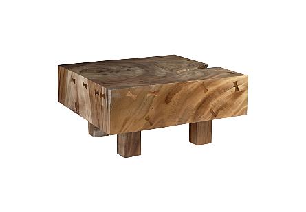 Chamcha Wood Coffee Table Square, Wood Legs
