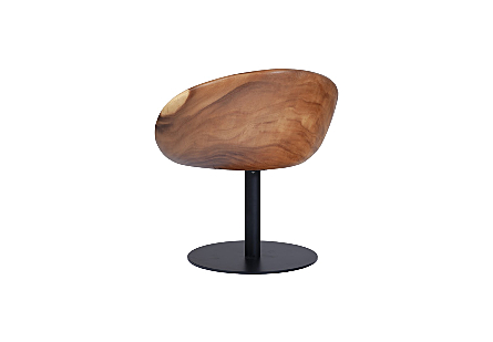 Spinning Chamcha Wood Chair Metal Base