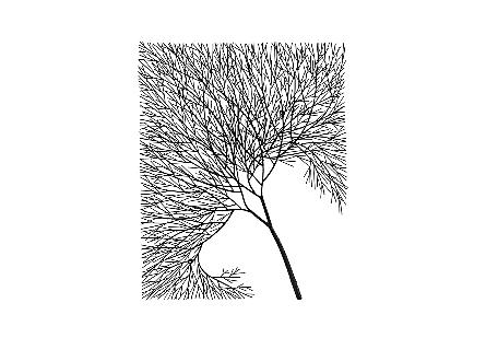 Wire Tree Wall Art Rectangular, Metal, Black