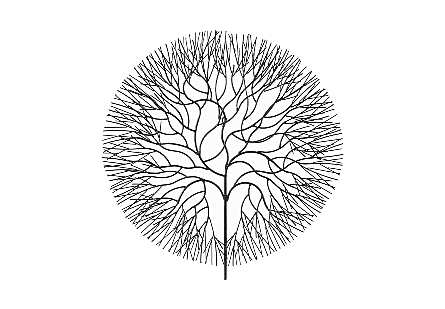 Wire Tree Wall Art Circle, Metal, Black, LG