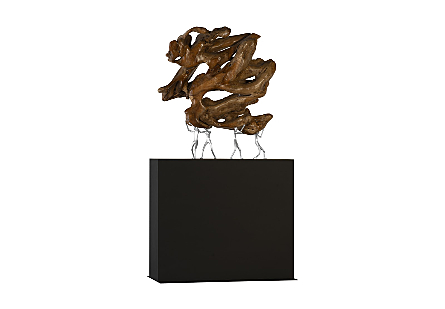 Atlas Sculpture on Stand Teak Wood/Iron, Silver