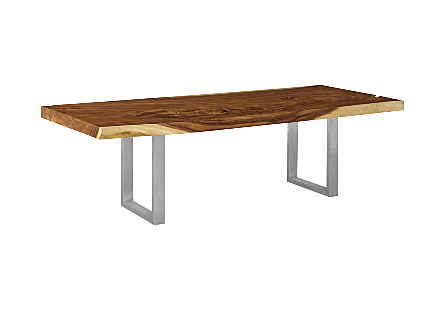 Chamcha Wood Dining Table Natural, Brushed Stainless Steel Legs