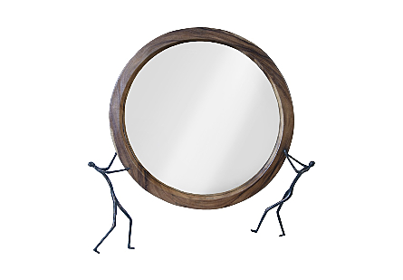 Atlas Mirror Chamcha Wood/Metal, Natural/Antique Bronze
