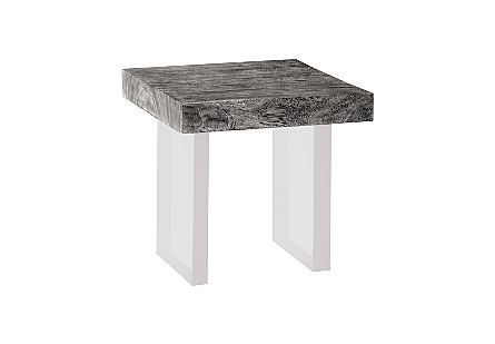 Floating Chamcha Wood Side Table Grey Stone, Acrylic Legs