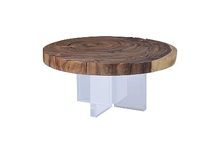 Chamcha Wood Round Coffee Table Acrylic Legs