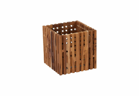 Perforated Wooden Box Square, LG