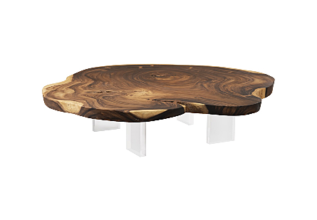 Floating Coffee Table with Acrylic Legs Chamcha Wood, Natural, Size Varies