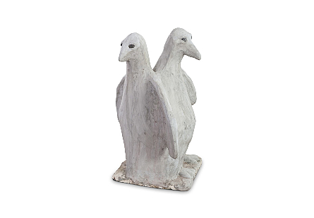 Twin Penguin Concrete Sculpture