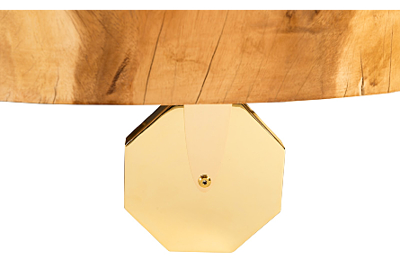 Chamcha Slice Table w/ Octagonal Caster, Plated Brass