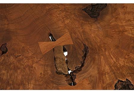 Burled Wood Side Table Metal Base