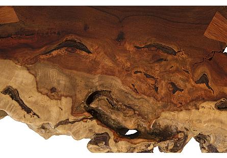 Pradoo Burled Wood Side Table Metal Base