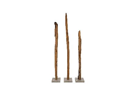 Teak Fence Sculpture Set of 3