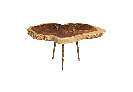 Makha Burl Wood CoffeeTable w/Forged Brass Legs