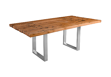 Rail Tie Dining Table Brushed SS Legs