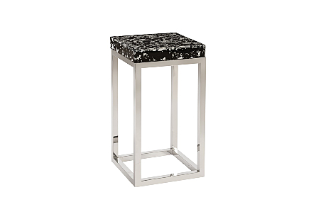 Captured Silver Flake Side Table with SS Base