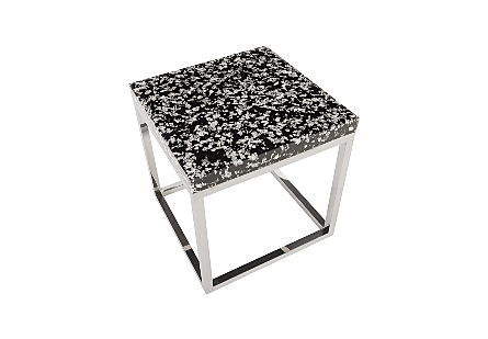 Captured Silver Flake End Table with SS Base