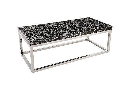 Captured Silver Flake Coffee Table Rectangle with SS Base
