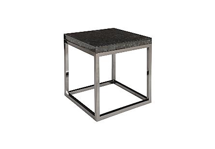 Captured Denim End Table w/ Plated Black Nickel Base