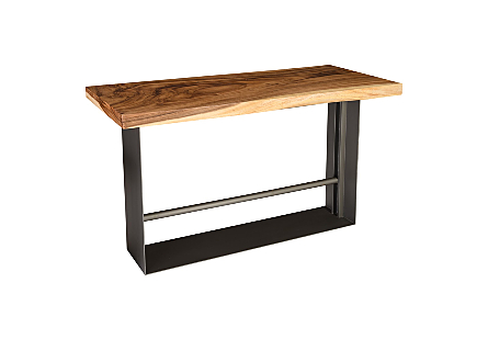 Iron Frame Bar Table, Chamcha Wood, Natural