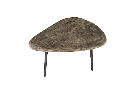 Skipping Stone Coffee Table Grey Stone, Forged Legs
