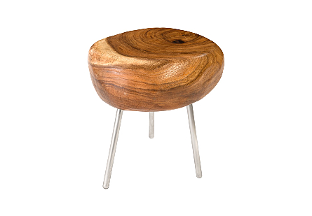Smoothed Stool with Brushed Stainless Steel Legs Chamcha Wood, Natural