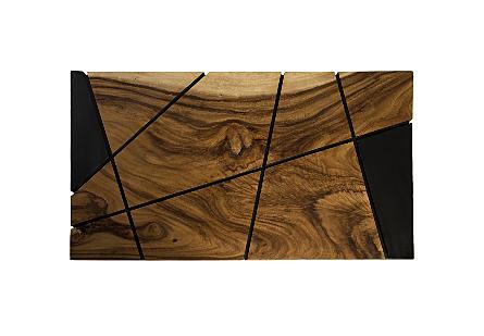 Criss Cross Coffee Table on Black Iron Legs Chamcha Wood