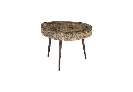 Crosscut Coffee Table Grey Stone, Forged Legs