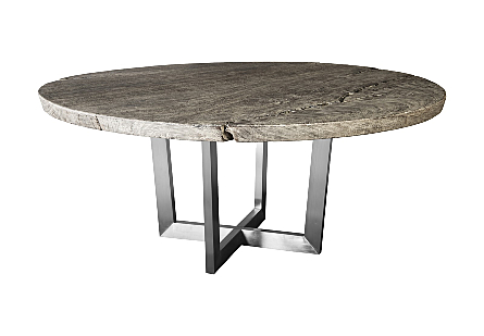 Chuleta Round Dining Table on Stainless Steel Base Chamcha Wood, Grey Stone, 72""