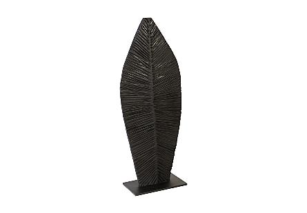 Carved Leaf on Stand Burnt, SM