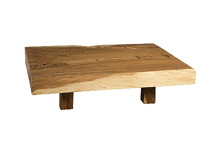 Chamcha Wood Thick Coffee Table on Block Legs Rectangular