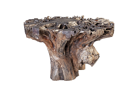 Lychee Root Dining Table Base Weatherd Grey