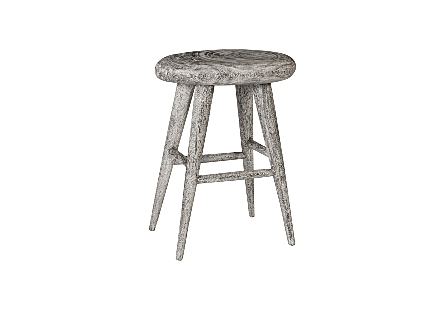 Smoothed Counter Stool Chamcha Wood, Grey Stone, Oval