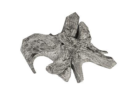 Chamcha Wood Thick Coffee Table Freeform, Grey Stone